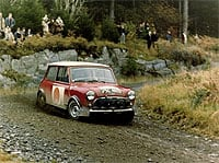 A MINI Cooper S at the RAC Rally in 1966